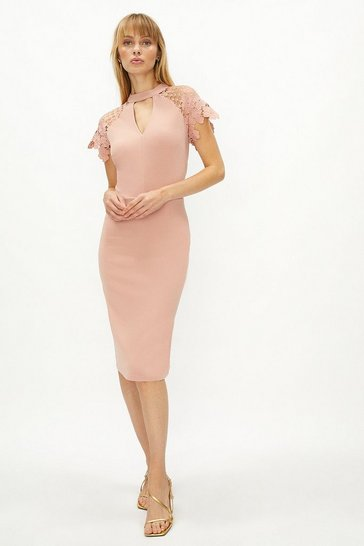 Blush Lace Cap Sleeve Shift Dress