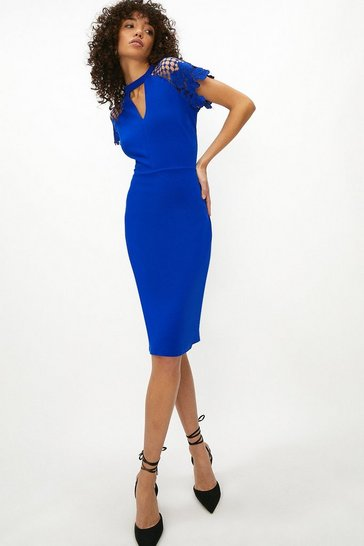 Womens Cobalt Lace Cap Sleeve Shift Dress