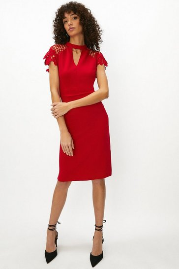 Womens Red Lace Cap Sleeve Shift Dress