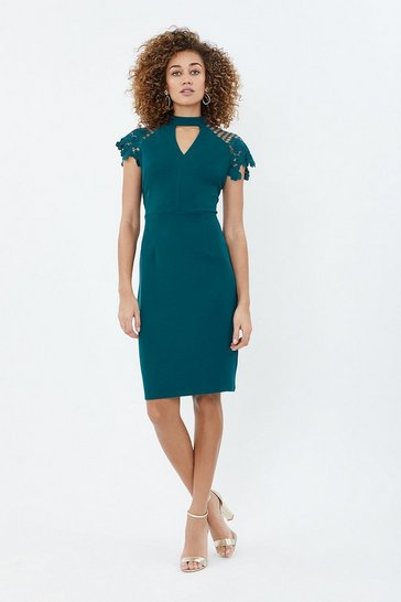 Teal Lace Cap Sleeve Shift Dress