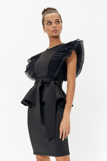 Black Belted Shoulder Ruffle Detail Scuba Dress