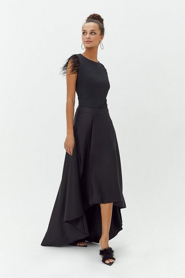 Black Satin Dip Hem Skirt