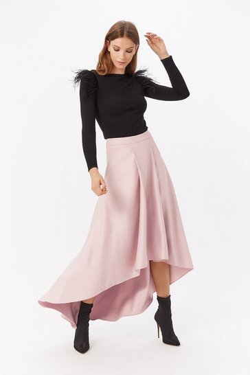 Blush Satin Dip Hem Skirt