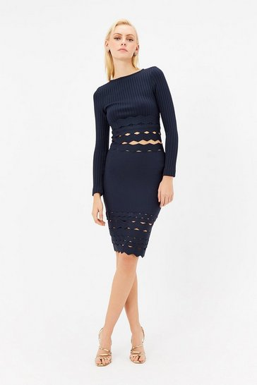 Navy Scallop Hem Bandage Midi Skirt Co-ord