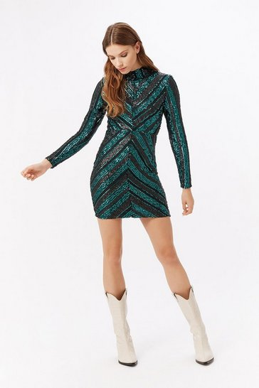 Green Geometric Pattern Sequin Long Sleeve Dress
