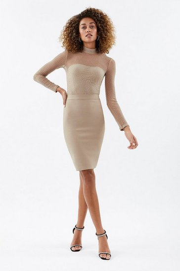 Nude High Neck Diamante Bandage Mesh Dress