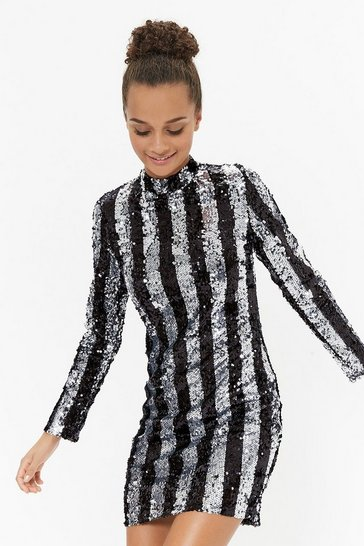 Silver Striped Sequin Long Sleeve Dress
