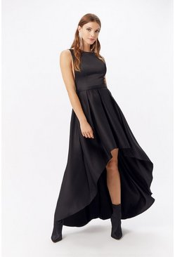 Black Satin Dip Hem Midi Dress