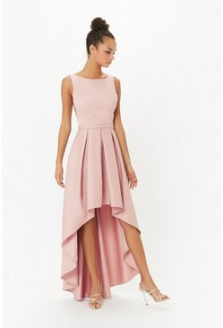 Blush Satin Dip Hem Midi Dress