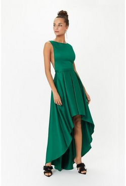 Green Satin Dip Hem Midi Dress