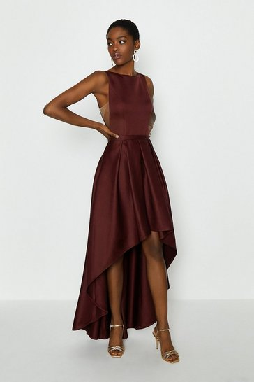 Merlot Satin Dip Hem Midi Dress