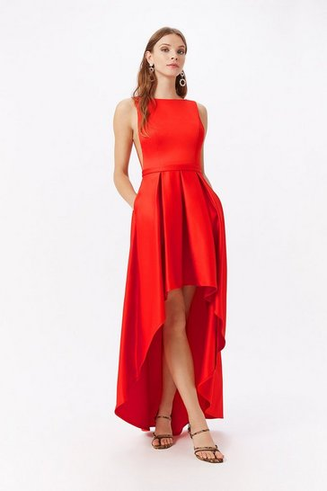 Red Satin Dip Hem Midi Dress