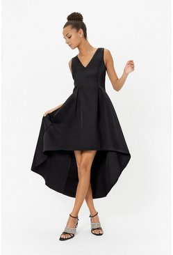 Black Satin V Neck Dip Hem Dress