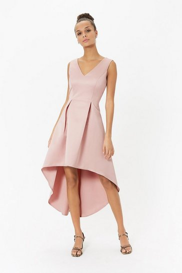 Blush Satin V Neck Dip Hem Dress