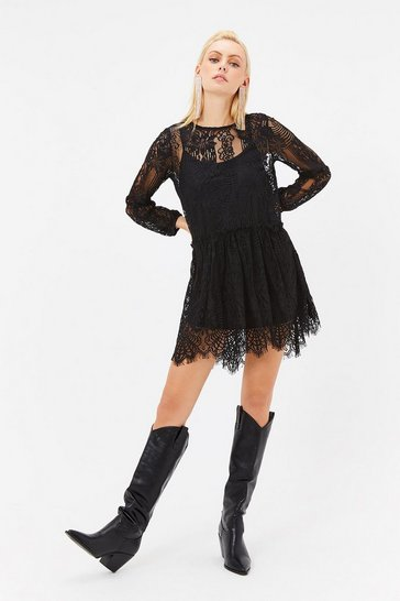 Womens Black Lace Smock Dress