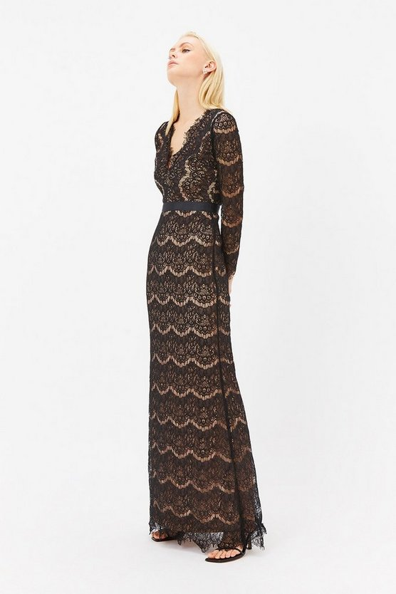 Womens Black Eyelash Lace Long Sleeve Maxi Dress