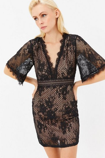 Black Flare Sleeve Lace Dress