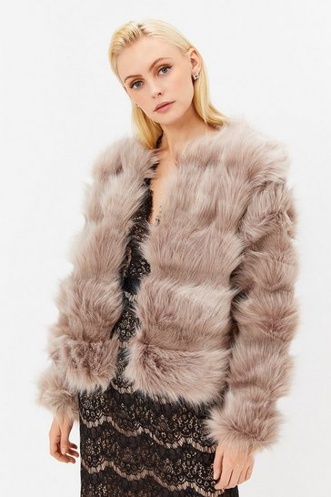 Womens Beige Faux Fur Panelled Jacket