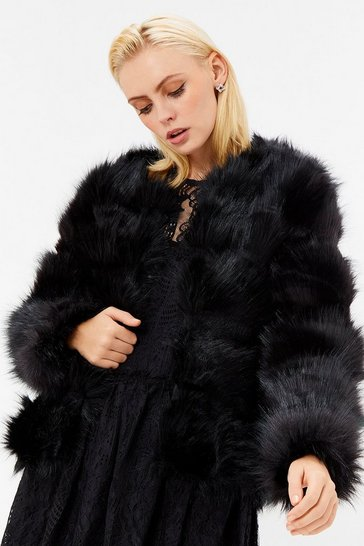 Womens Black Faux Fur Panelled Jacket