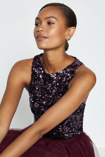 Aubergine Sleeveless Sequin Top