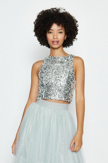 Silver Sleeveless Sequin Top