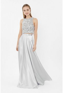 Grey Satin Maxi Skirt
