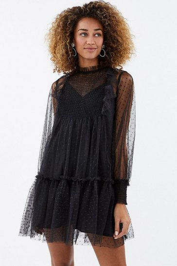 Black Polka Dot Mesh Shirred Smock Dress