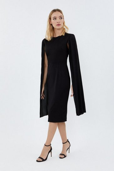 Black Pleated Cape Sleeve Midi Dress