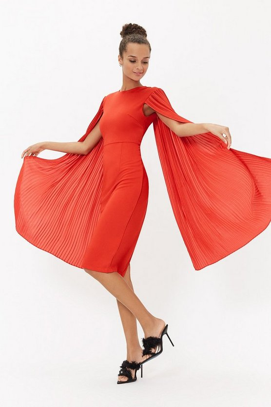 Red Pleated Cape Sleeve Midi Dress