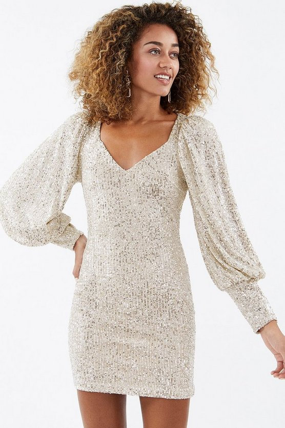 Beige Sequin Balloon Sleeve Dress