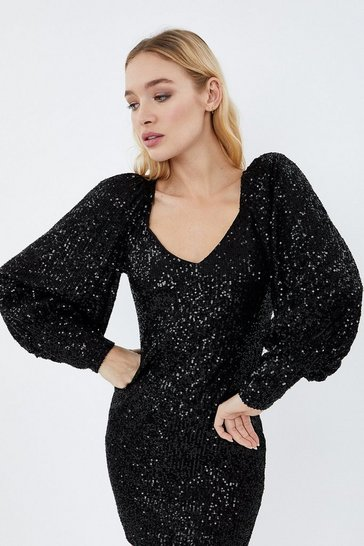 Black Sequin Balloon Sleeve Dress