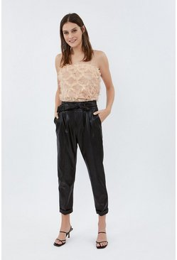 Black Faux Leather Belted Trouser