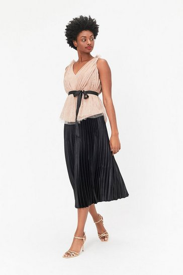 Black Satin Pleated Midaxi Skirt