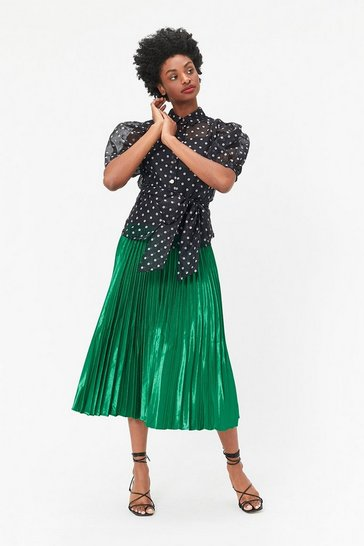 Emerald Satin Pleated Midaxi Skirt