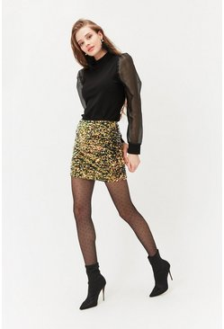 Yellow Sequin Mini Skirt