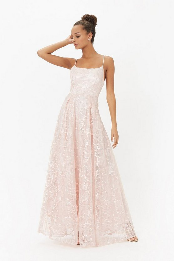 Blush Embroidered Full Skirt Maxi Dress