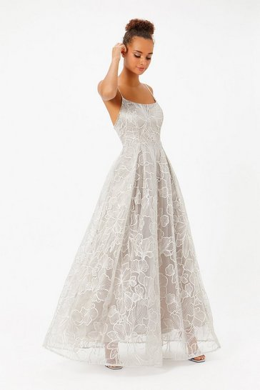 Silver Embroidered Full Skirt Maxi Dress