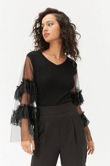Black Lace Sleeve Fine Gauge Jumper