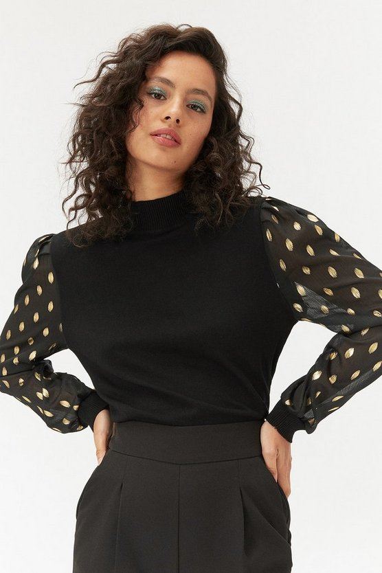 Black Gold Polka Dot Contrast Sleeve Jumper