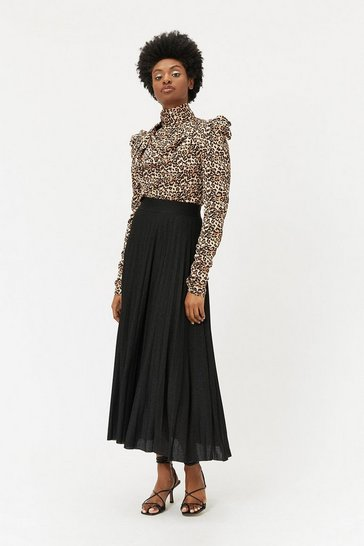 Black Metallic Knit Pleated Skirt