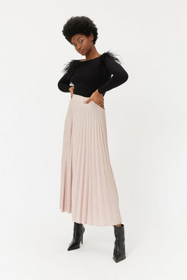 Blush Metallic Knit Pleated Skirt