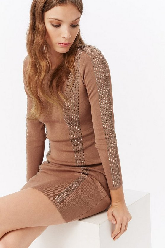 Beige Diamante Knit Bodycon Dress