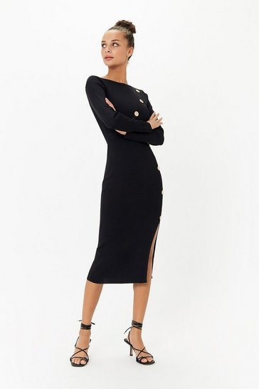 Black Button Detail Knit Dress