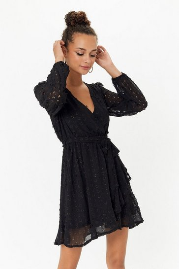 Black Metallic Spot Wrap Dress