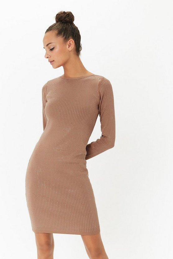 Beige Long Sleeve Diamante Bodycon Dress