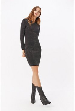 Black Long Sleeve Diamante Bodycon Dress