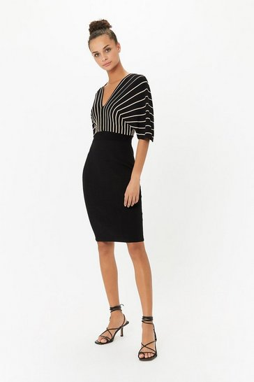 Gold Batwing Striped Knitted Dress