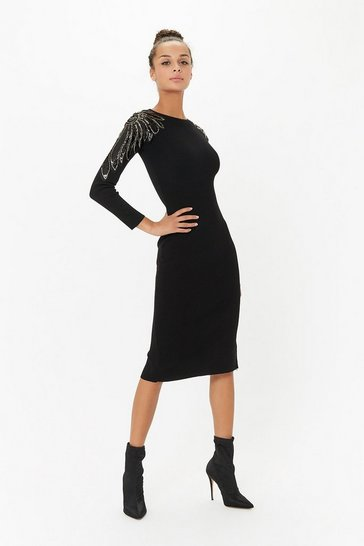 Black Sequin Detail Knit Midi Dress