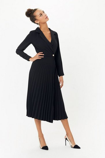 Black Pleated Wrap Midi Dress
