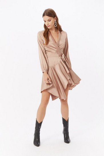 Beige Satin Wrap Ruffle Dress